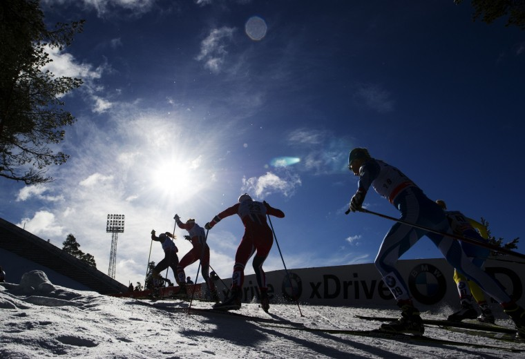Athletes compete during the FIS Cross-Country World Cup Ladies Skiathlon 7,5 classic and 7,5 km free competition in Falun, Sweden, on March 15, 2014. Norway's Therese Johaug won ahead of Norway's Marit Bjoergen and Finland's Kerttu Niskanen. (Jonathan Nackstrand/AFP/Getty Images)
