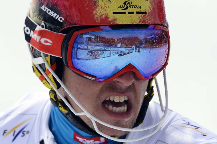 Austria's Marcel Hirscher reacts after winning the FIS Men's alpine skiing World Cup Slalom finals, on March 16 in Lenzerheide.  || CREDIT:  FABRICE COFFRINI - AFP/GETTY IMAGES