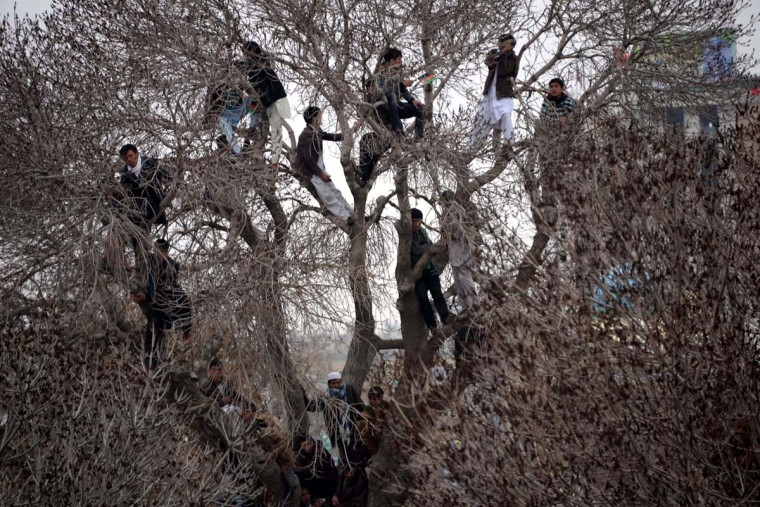 Afghan men look on from tree branches while other revelers gather near the Hazrat-e-Ali shrine for Nowruz festivities which marks the Afghan new year in Mazari-i-Sharif on March 21, 2014. Nowruz, one of the biggest festivals of the war-scarred nation, marks the first day of spring and the beginning of the year in the Persian calendar. Nowruz is calculated according to a solar calendar, this coming year marking 1393. Farshad Usyan/AFP/Getty Images)