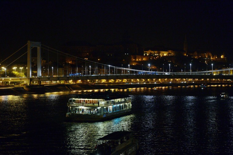 A picture shows the 'Buda Palace' with the white bridge, the 'Elisabeth Bridge' of Budapest after the lights were switched off for earth hour on March 29, 2014. (ATTILA KISBENEDEK/AFP/Getty Images)
