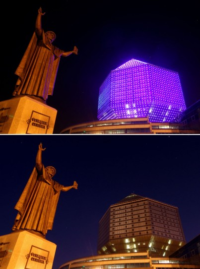 This combination of pictures shows the monument to Belarus humanist Francysk Skaryna and the National library submerging into darkness for the Earth Hour environmental campaign in central Minsk on March 29, 2014. (SERGEI GAPON/AFP/Getty Images)