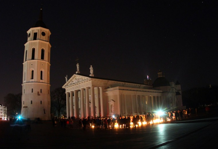 A picture taken on March 29, 2014 shows the Vilnius Cathedral with the lights switched off to mark the annual Earth Hour in Vilnius, Lithuania. (PETRAS MALUKAS/AFP/Getty Images)