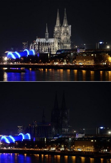 A combo picture shows the dome in Cologne during the Earth Hour environmental campaign on March 29, 2014 in Cologne, western Germany. (HENNING KAISER/AFP/Getty Images)