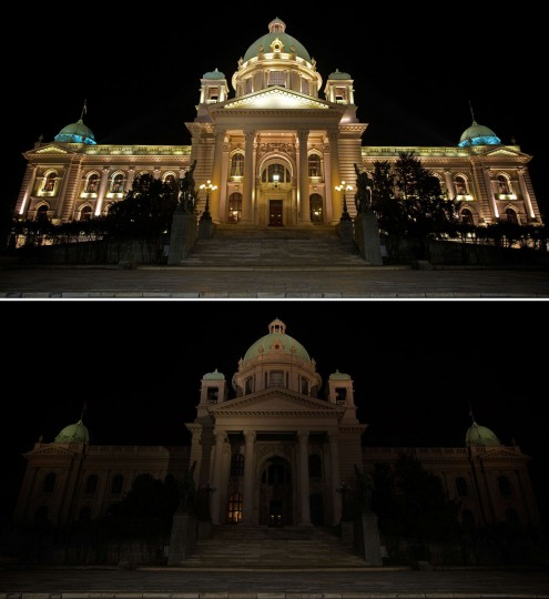 This combination of pictures shows the Serbian National Assembly building in Belgrade before and after submerging into darkness for the Earth Hour switch-off environmental campaign on March 29, 2014. (ANDREJ ISAKOVIC/AFP/Getty Images)
