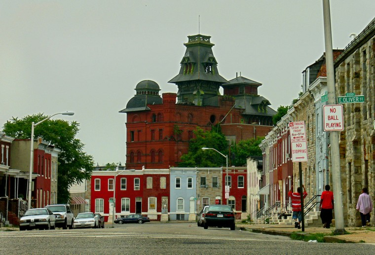 A view facing north towards the American Brewery, photographed while standing at the southern corner of Collington Av at E. Oliver on June 2, 2006. (Baltimore Sun/Karl Merton Ferron)