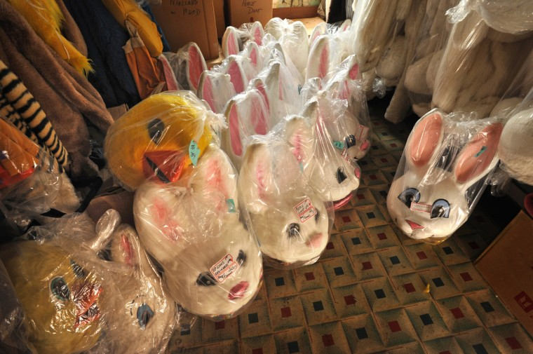 In one of many storage rooms at A.T. Jones & Sons is a large collection of animal costumes, including many Easter Bunnies. (Amy Davis / Baltimore Sun)