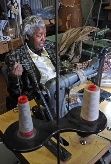 Bessie Gaylord, 76, who had her own costume business, was coaxed out of retirement by George Goebel. (Amy Davis / Baltimore Sun)
