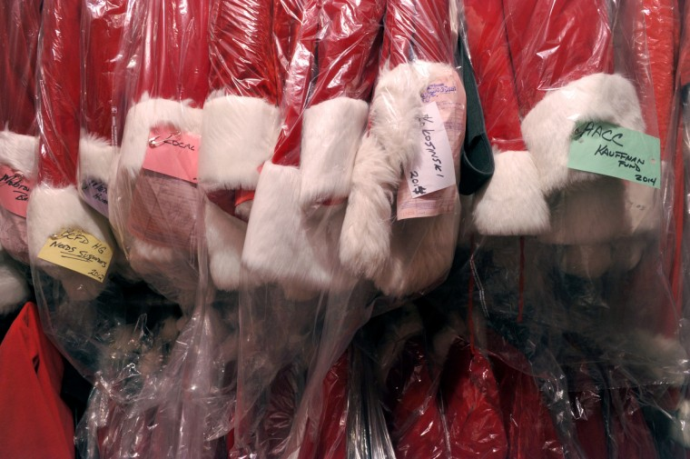 An entire storage room is devoted to Santa suits. The A.T. Jones & Sons, Inc., has seasonal costumes, and at one time did a lot of Halloween business, but now concentrates on opera and theater productions. (Amy Davis / Baltimore Sun)