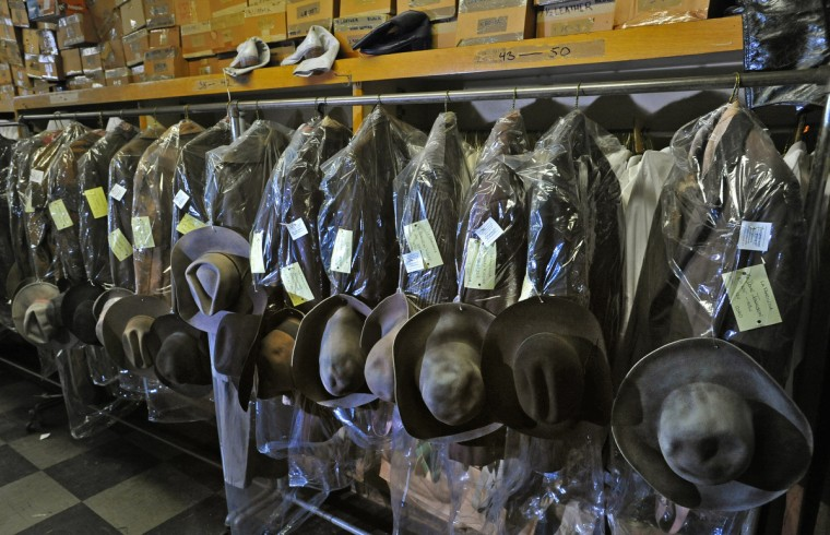 "The costumes for a production of Puccini's ""La Fanciulla del West,"" which is set during the Gold Rush, are tagged for each performer, ready to be packed and shipped. (Amy Davis / Baltimore Sun)"