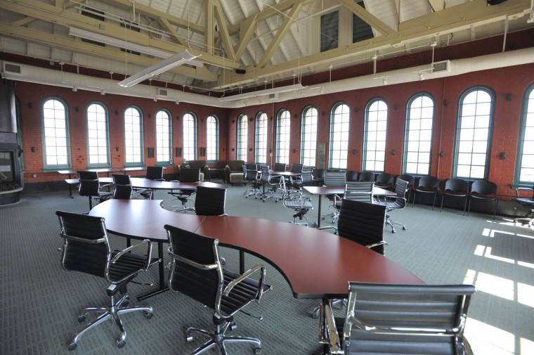 Multi-purpose room in the renovated American Brewery. (Lloyd Fox/Baltimore Sun)