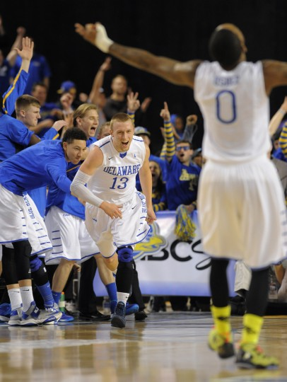Delaware #13 Kyle Anderson reacts after hitting a second half three-pointer. (Lloyd Fox/Baltimore Sun)