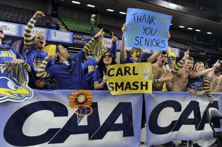 University of Delaware fans cheer before the championship game. Men's 2014 CAA basketball tournament championships. (Lloyd Fox/Baltimore Sun)