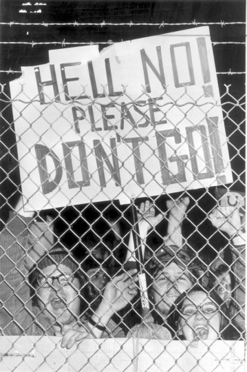 "As early as January 1972 rumors started to spread about a possible move by the Colts. Screeching fans hold up a sign expressing sentiments about the team moving from the city, ""Hell No! Please Don't Go."" (Irving Phillips/Baltimore Sun)"