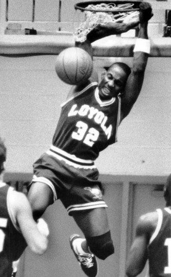 Despite Loyola's loss to Mt. St. Mary's consolation game of the Beltway tournament, Loyola's Mike Morrison made a reverse dunk late in the game in the inaugural Beltway Tourney. (Baltimore Sun file)