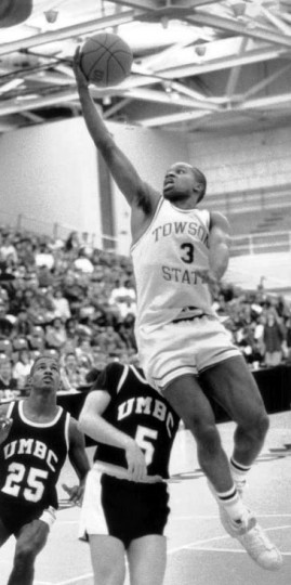 Marty Johnson goes for 2 points against UMBC. (Baltimore Sun file)