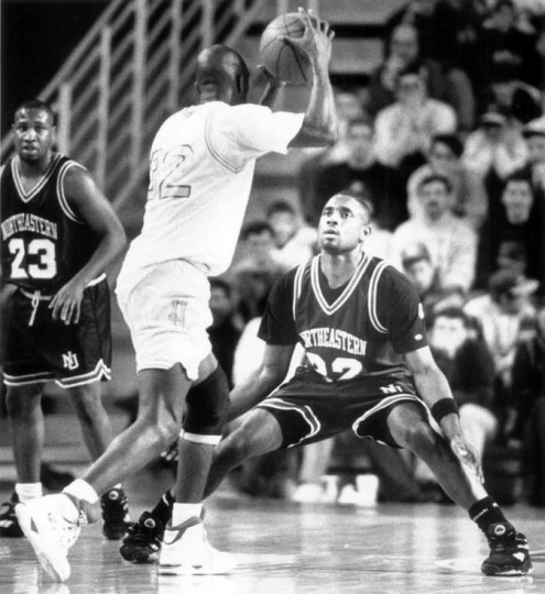 Feb. 19, 1992 - Chuckie Moore, a Northeastern player, guards against the UD Blue Hens at a game in Delaware. (Natalie Waters/Baltimore Sun file)
