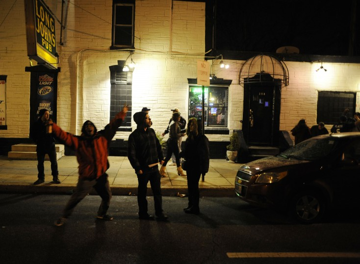 Revelers filled the streets of Remington after the Ravens Super Bowl victory over the San Francisco 49ers on Sunday, February 3rd. (Noah Scialom/The Baltimore Sun)