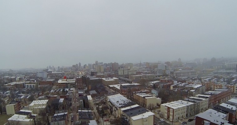 Aerial shot of fog over Baltimore. (Credit: Will Cocks)