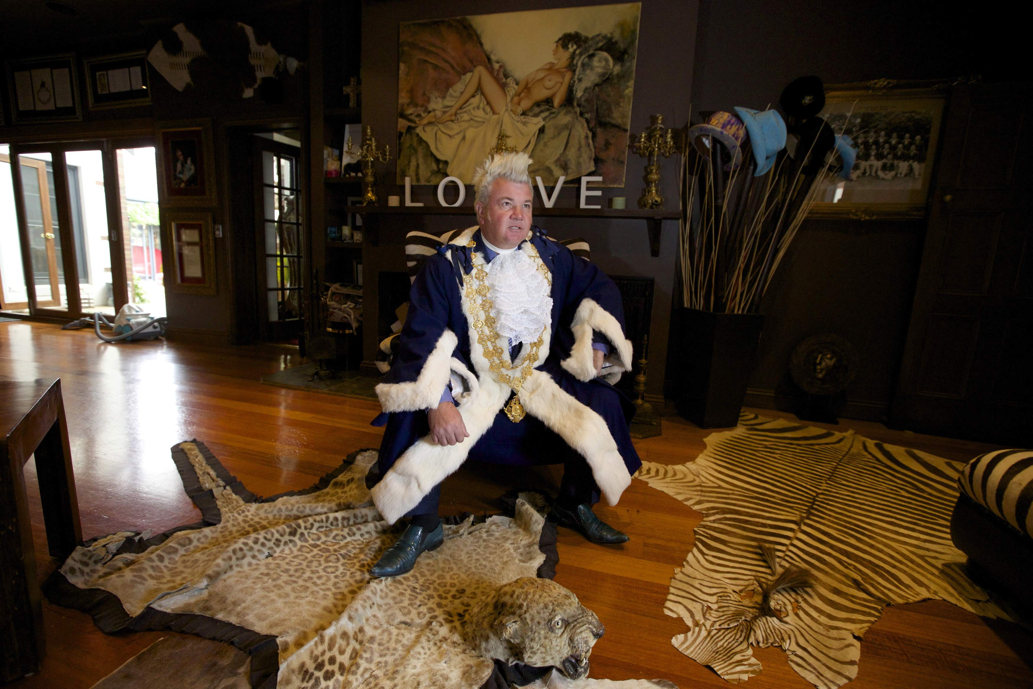 Newly Elected Geelong Mayor Darryn Lyons Poses For A Photograph In His Mayoral Robes In The Living Room Of His Home In Geelong