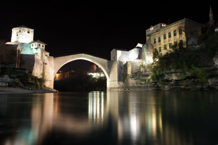 The Old Bridge is pictured before Earth Hour in Mostar on March 29, 2014. (REUTERS/Dado Ruvic)