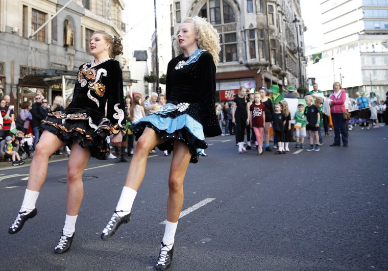 Dancers perform at the St Patrick's Day parade in central London March 16, 2014. (Olivia Harris/Reuters)