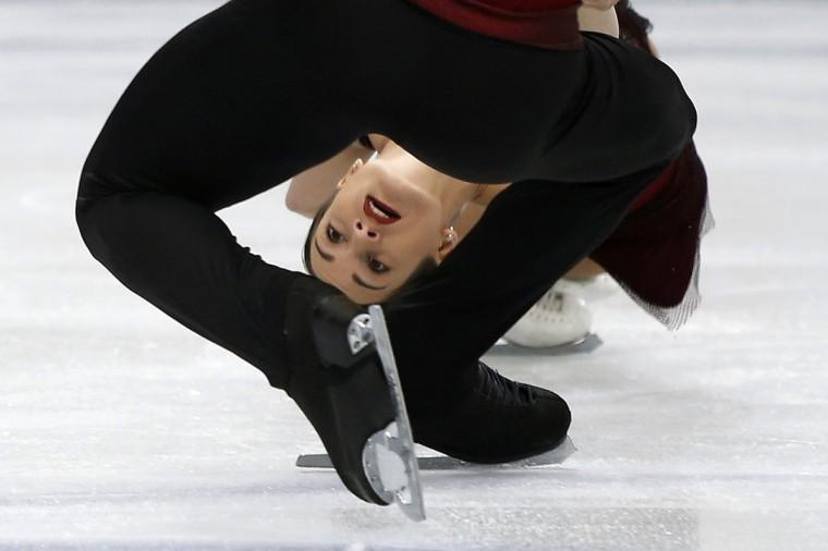 Russia's Ksenia Stolbova and Fedor Klimov compete during the pairs short program at the ISU World Figure Skating Championships in Saitama, north of Tokyo. (Yuya Shino/Reuters)