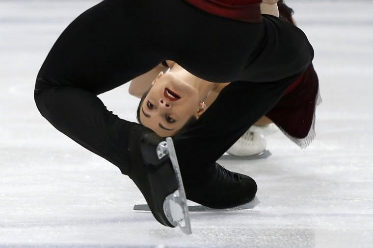 Russia's Ksenia Stolbova and Fedor Klimov compete during the pairs short program at the ISU World Figure Skating Championships in Saitama, north of Tokyo. (Yuya Shino/Reuters)