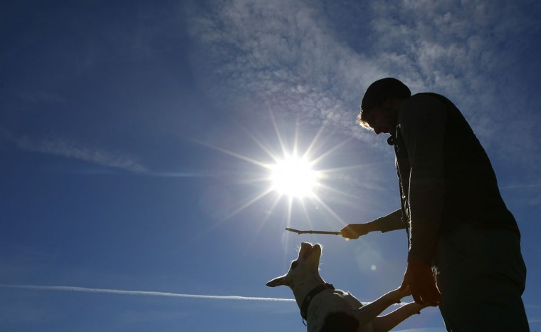 A man plays with his dog on a sunny spring day in the 'Englischer Garten' in Munich March 20, 2014. Spring officially began on Wednesday in the northern hemisphere, and is known as both the spring or vernal equinox. (REUTERS/Michaela Rehle)