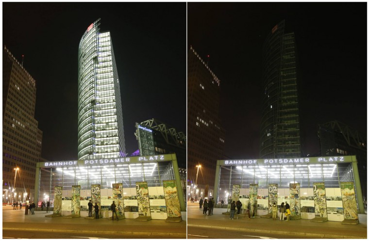 A combination picture shows the Deutsche Bahn tower at the Potsdamer Square before and during Earth Hour in Berlin on March 29, 2014. (REUTERS/Fabrizio Bensch)