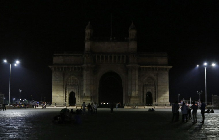 The Gateway of India monument is pictured during Earth Hour in Mumbai on March 29, 2014. (REUTERS/Mansi Thapliyal)