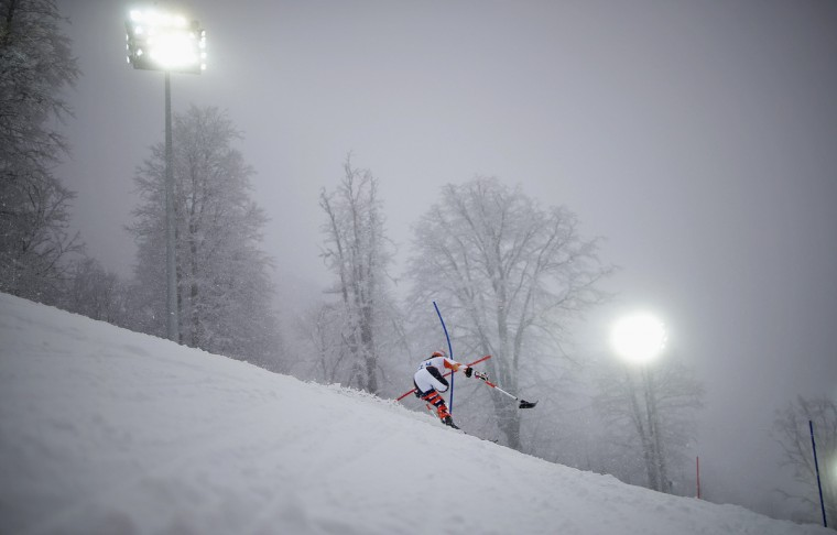 Anna Jochemsen of the Netherlands skis during the first run of the women's standing slalom event at the 2014 Sochi Paralympic Winter Games at the Rosa Khutor Alpine Center (Christian Hartmann/Reuters)