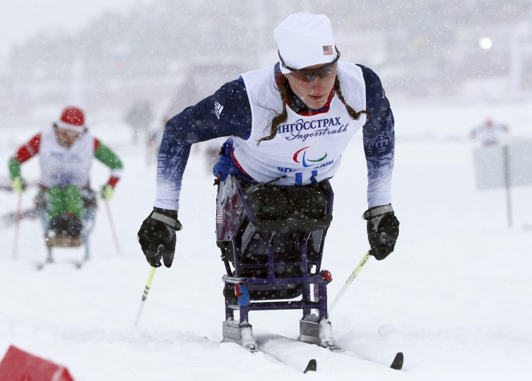 Tatyana McFadden of the U.S. competes in the women's 1-km sprint cross-country sitting event at the 2014 Sochi Paralympic Winter Games in Rosa Khutor (Alexander Demianchuk/Reuters