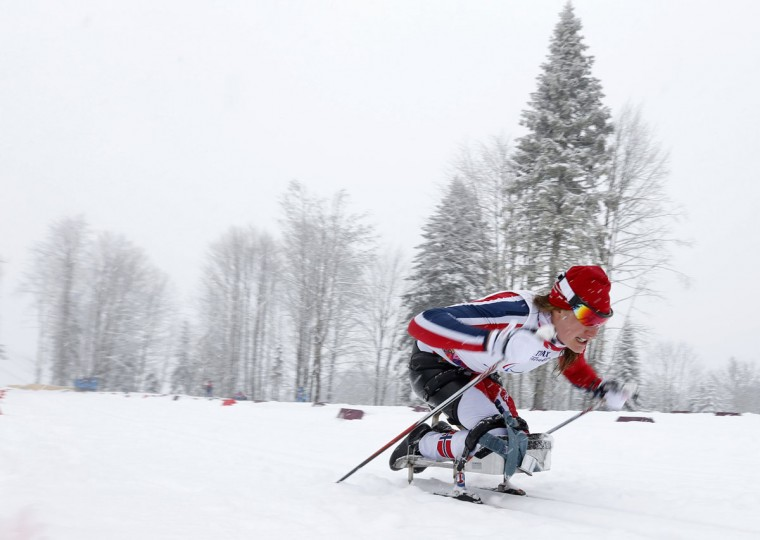 Norway's Birgit Skarstein skis during the women's 1 km sprint cross-country sitting event at the 2014 Sochi Paralympic Winter Games in Rosa Khutor, March 12, 2014. (REUTERS/Alexander Demianchuk)