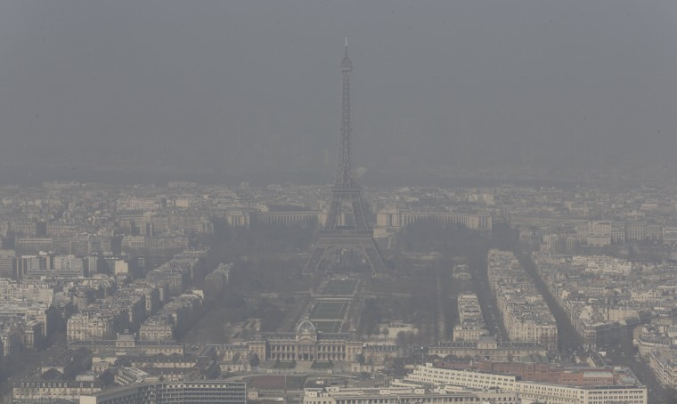 A general view shows the Eiffel tower and the Paris skyline through a small-particle haze March 13, 2014 as warm and sunny weather continues in France. Residents and visitors to Paris basking in a streak of unseasonable sunshine were also being treated with a dangerous dose of particles from car fumes that pushed air pollution to levels above other northern European capitals this week. Swathes of France, including the French capital, were on maximum alert over air pollution on Thursday, prompting Paris authorities to make green transportation such as its Velib bike-share and the Autolib electric car fleet free for the day. (REUTERS/Philippe Wojazer)