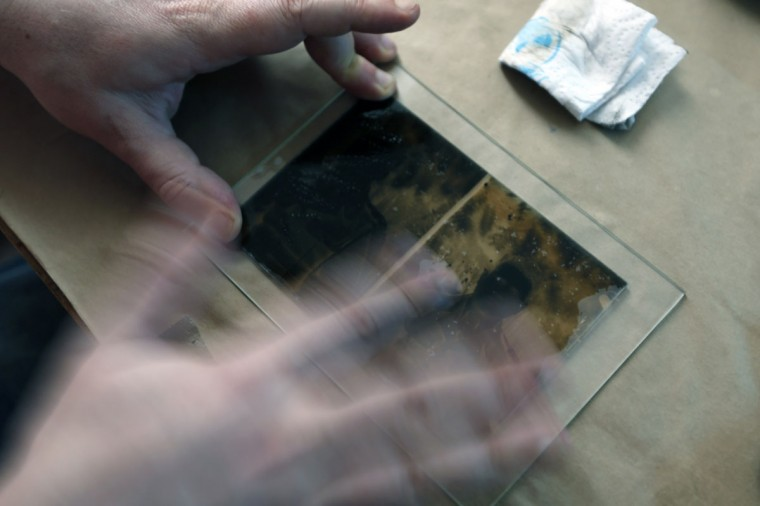 """Photo enthusiast Cezar Popescu cleans a glass plate negative from the """"Costica Acsinte picture archive"""" before scanning at Ialomita county museum in Slobozia February 21, 2014. (REUTERS/Bogdan Cristel)"""