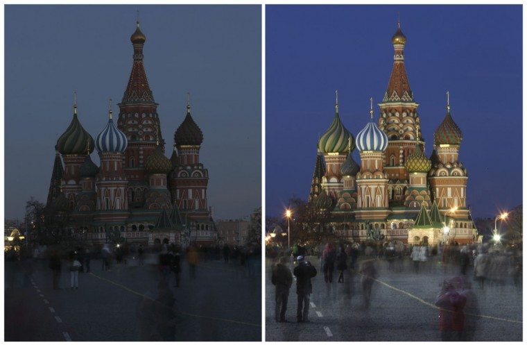 A combination picture shows St. Basil's Cathedral before and during Earth Hour in Moscow on March 29, 2014. (REUTERS/Sergei Karpukhin)