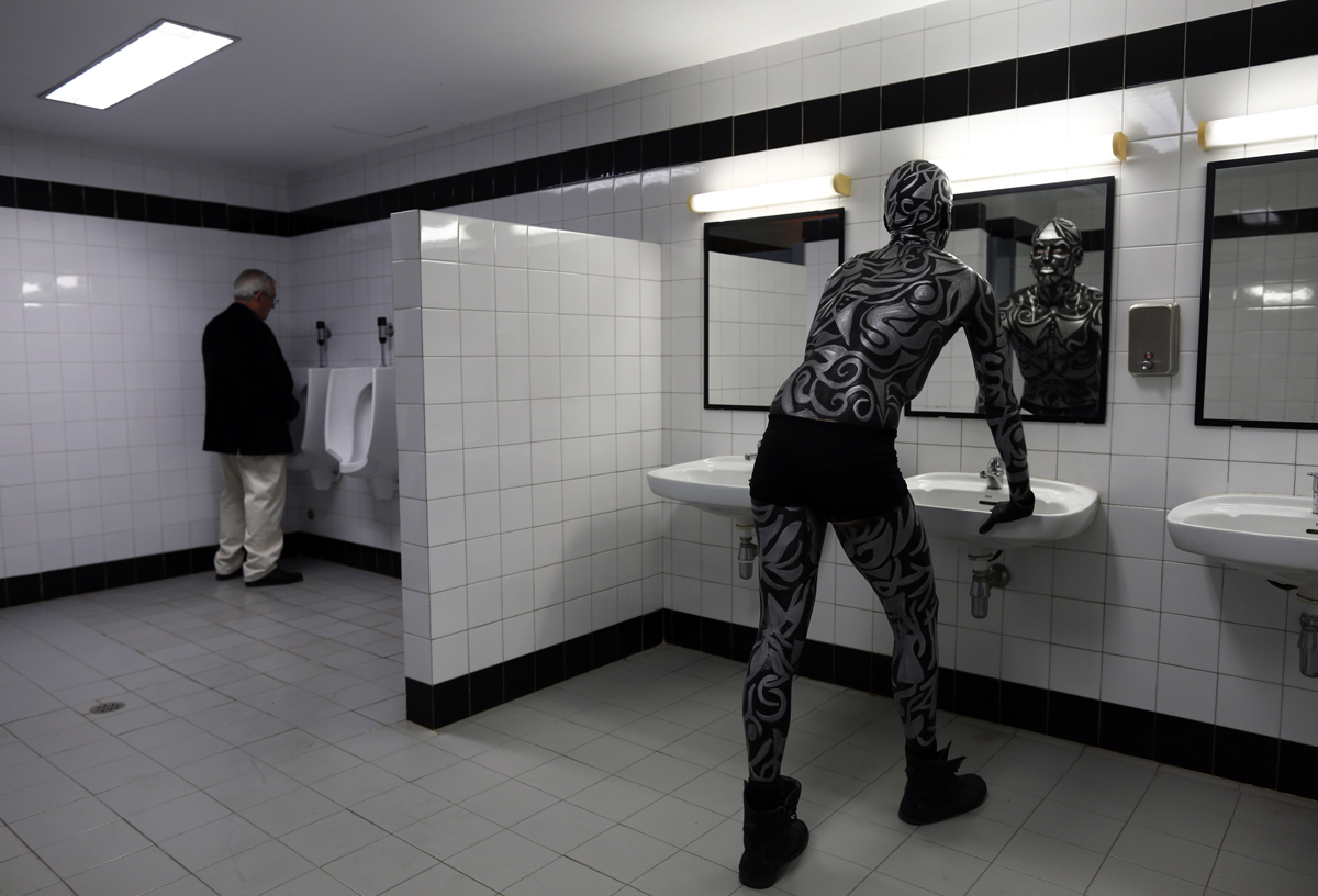 bathroom mirror reflection. Ruben Hidalgo, 25, A Contestant, Looks At His Reflection In The Mirror Bathroom Before Taking Part Body Paint Pageant During Expobelleza Andalucia R