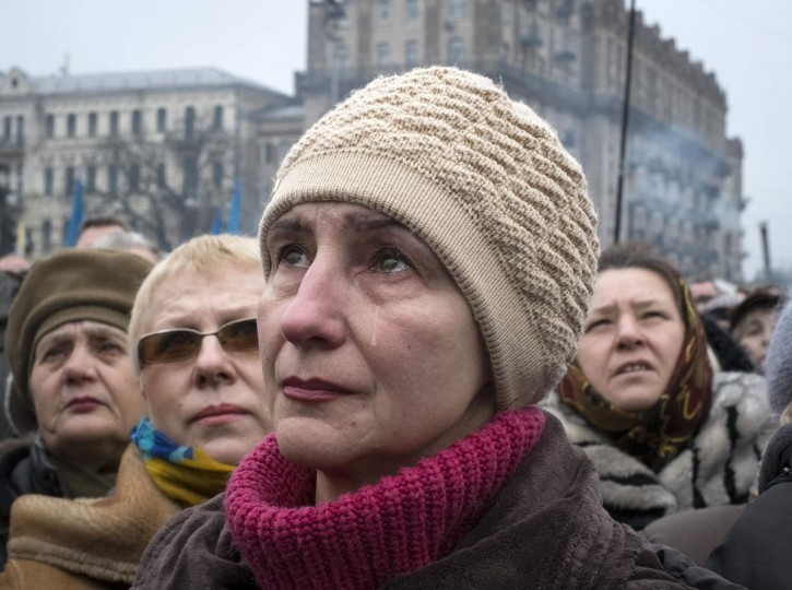 A woman cries as she attends a rally at Independence Square in Kiev, March 2, 2014. Ukraine mobilized for war on Sunday. (Gleb Garanich/Reuters)