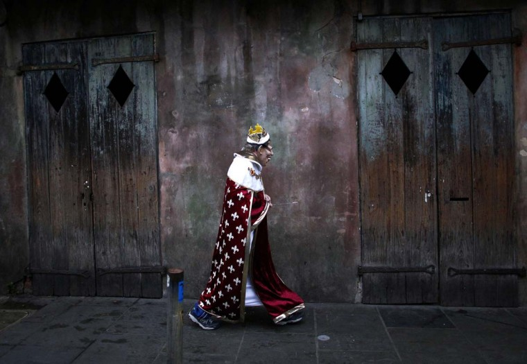 A reveler parades through the French Quarter on Mardi Gras Day in New Orleans, Louisiana March 4, 2014. (Jonathan Bachman/Reuters)