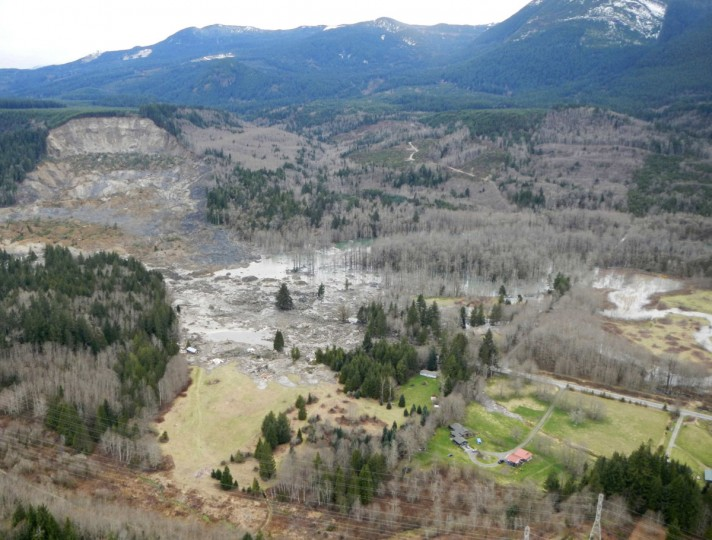 A general view of the area affected by a landslide near State Route 530 is seen in this Washington State Department of Transportation handout picture taken near Oso, Washington, March 22, 2014. Three people died and at least eight others were injured on Saturday in a landslide that destroyed six or more homes along a state highway in northwest Washington state, officials said. (Washington State Department of Transportation/Handout via Reuters)