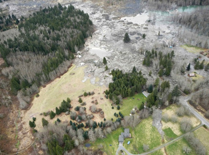 A general view of the area affected by a landslide near State Route 530 is seen in this Washington State Department of Transportation handout picture taken near Oso, Washington, March 22, 2014. (Washington State Department of Transportation/Handout via Reuters)