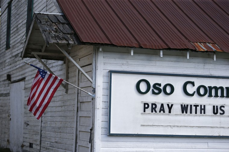 The Oso Community Chapel is pictured near the area where a landslide blocks Highway 530 near Oso, Washington, March 23, 2014. (Lindsey Wasson/Pool/Reuters)