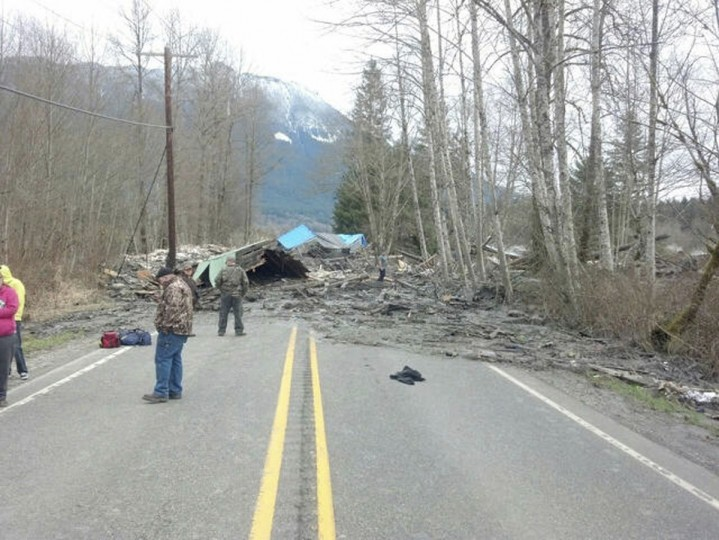Officials survey a large mudslide in this handout photo provided by the Washington State Police near Oso, Washington, March 22, 2014. (Washington State Police/Handout via Reuters)