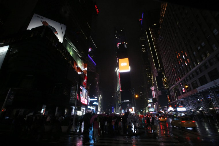 Times Square is pictured before Earth Hour in New York on March 29, 2014. (REUTERS/Eduardo Munoz)