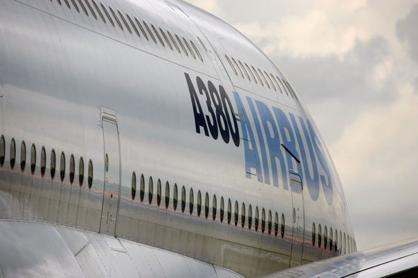 An Airbus A380-800 aircraft arrives at Farnborough International Airshow in Farnborough, England. (REUTERS/Kevin Coombs)