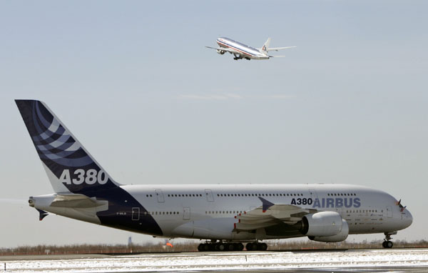The Airbus A380 taxis after landing at JFK International Airport in New York. (REUTERS/Shannon Stapleton)