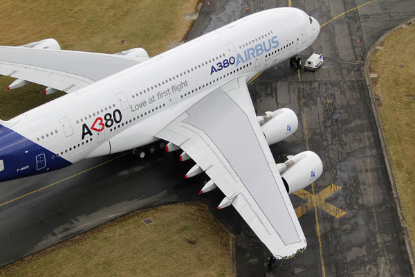 The damaged right-hand wing-tip of the Airbus A380, the world's largest jetliner with a wingspan of almost 80 meters, is seen on the tarmac during the Paris Air Show in Le Bourget airport on June 20, 2011. (REUTERS/Pascal Rossignol)