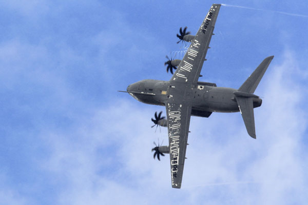 An Airbus A400M military aircraft participates in a flying display during the 50th Paris Air Show at the Le Bourget airport on June 23, 2013. (REUTERS/Pascal Rossignol)