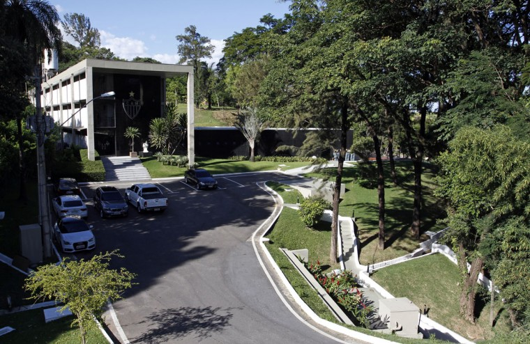 An overview of the entrance to the Atletico Mineiro Training Center, where the Argentine national soccer team will be based during the 2014 World Cup, in the Vespasiano municipality of Belo Horizonte, Minas Gerais state. (REUTERS/Washington Alves)