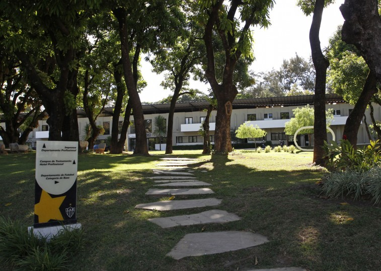 An overview of the entrance to the Atletico Mineiro Training Center, where the Argentine national soccer team will be based during the 2014 World Cup. (REUTERS/Washington Alves)
